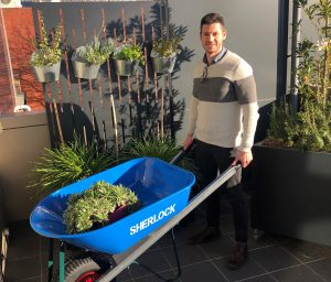 CAFS Donation_Sherlock Wheelbarrow_June 2019_Youth Services Case Manager (Alex Pike)_cropped